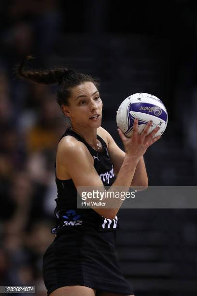 Karin Burger of New Zealand takes a passs during game 1 of the Cadbury Netball Series between the New Zealand Silver Ferns and the England Roses at...