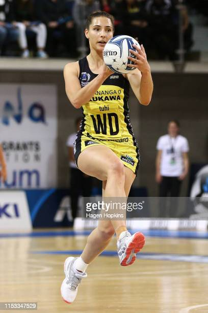 Karin Burger of the Pulse in action during the ANZ Premiership Netball Final between the Pulse and the Stars at Te Rauparaha Arena on June 03 2019 in...
