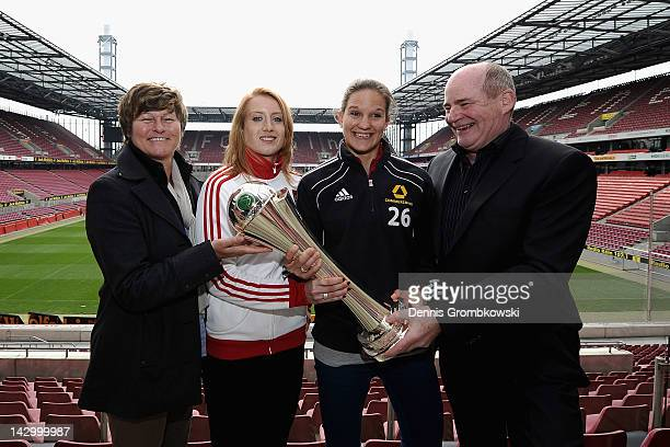 Karin Danner manager of FC Bayern Muenchen Kathin Laengert of FC Bayern Muenchen Desiree Schumann of 1 FFC Frankfurt and Siegfried Dietrich manager...