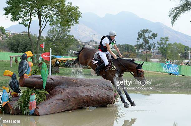 Karin Donckers of Belgium riding Fletcha Van't Verahof during the Cross Country Eventing on Day 3 of the Rio 2016 Olympic Games at the Olympic...