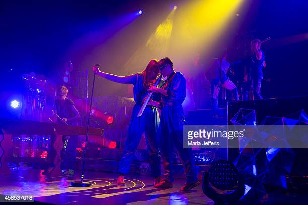 Karin Dreijer Andersson and Olof Dreijer of The Knife performs on stage at Brixton Academy on November 6 2014 in London United Kingdom