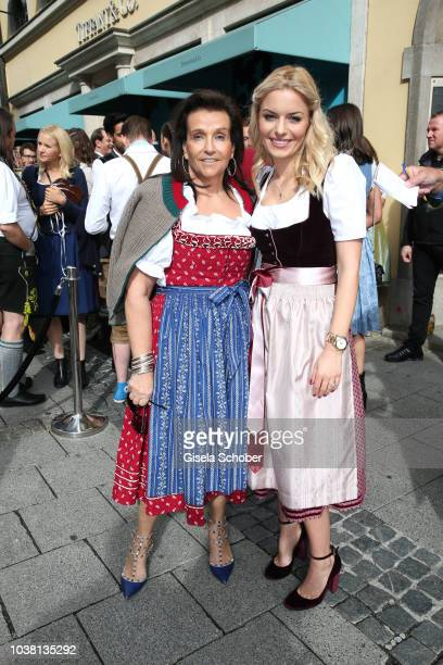 Karin Holler and Delia Fischer founder and owner of Westwing during the 'Fruehstueck bei Tiffany' at Tiffany Store ahead of the Oktoberfest on...