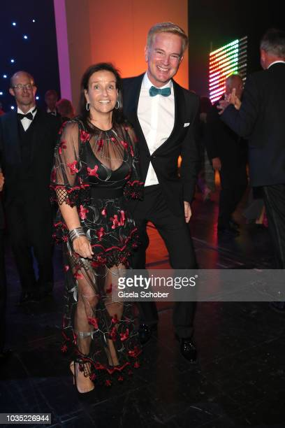 Karin Holler and Felix Raslag dance during the traditional Buehnendinner 2018 at Bayerische Staatsoper on September 17 2018 in Munich Germany