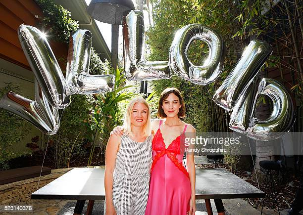 Karin Kallman and Alexa Chung attend the Villoid garden tea party hosted by Alexa Chung at the Hollywood Roosevelt Hotel on April 21 2016 in...