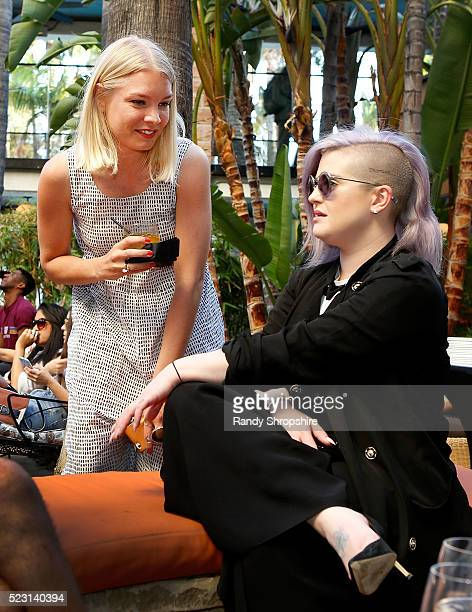 Karin Kallman and Kelly Osbourne attend the Villoid garden tea party hosted by Alexa Chung at the Hollywood Roosevelt Hotel on April 21 2016 in...