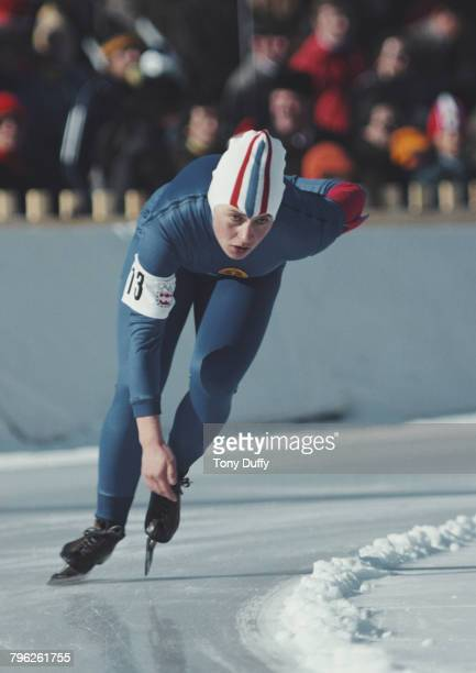 Karin Kessow of East Germany skates in the Women's 3000 metres speed skating event during the XII Olympic Winter Games on 8 February 1976 at the...