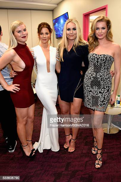Karin Kildow actress Kate Beckinsale skiier Lindsey Vonn and actress Rebecca Romijn attend the 2016 Billboard Music Awards at TMobile Arena on May 22...
