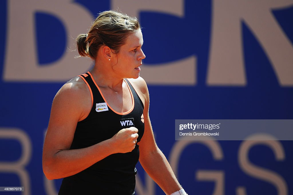 Karin Knapp of Italy celebrates a point during her match against Caroline Garcia of France during Day 6 of the Nuernberger Versicherungscup on May 22, 2014 in Nuremberg, Germany.