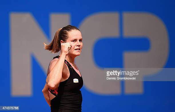 Karin Knapp of Italy celebrates after her match against Lara Arruabarrena of Spain during Day seven of the Nuernberger Versicherungscup 2015 on May...