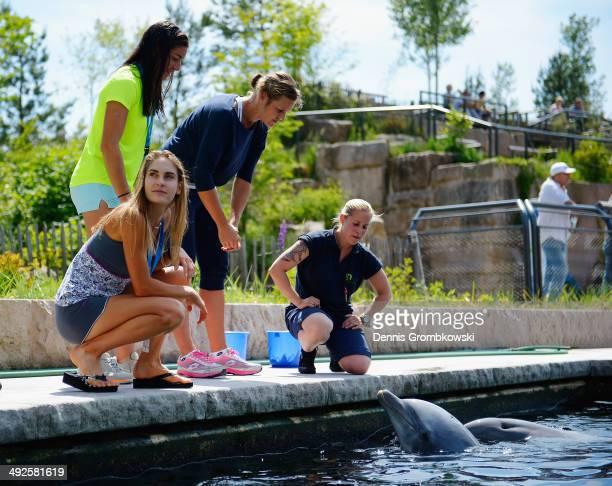 Karin Knapp of Italy Dia Evtimova of Bulgaria and Montserrat Gonzalez of Paraguay attend a visit at Nuremberg Delphinarium at Nuremberg Zoo during...
