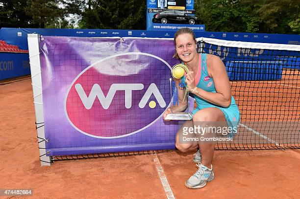 Karin Knapp of Italy lifts the trophy after her victory in the Nuernberger Versicherungscup 2015 on May 23 2015 in Nuremberg Germany