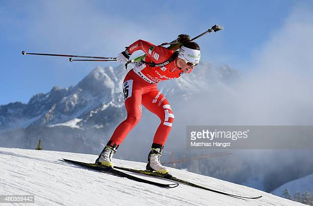 Karin Oberhofer of Italy competes during the women's 75 km sprint event during the IBU Biathlon World Cup on December 12 2014 in Hochfilzen Austria
