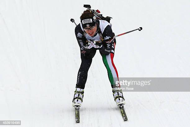 Karin Oberhofer of Italy competes in the women's 75km sprint event during the IBU Biathlon World Cup on December 6 2013 in Hochfilzen Austria