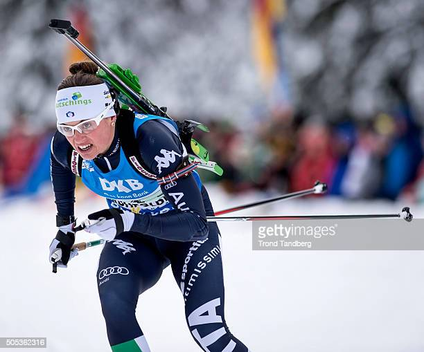 Karin Oberhofer of Italy in action during the Women 4 x 5 km relay Biathlon race at the IBU Biathlon World Cup Ruhpolding on January 17 2016 in...