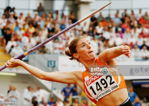 Karin Ruckstuhl of the Netherlands competes during the Javelin throw discipline in the Women's Heptathlon on day two of the 19th European Athletics...