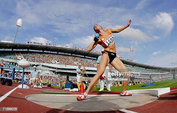 Karin Ruckstuhl of the Netherlands competes during the Shot Put discipline in the Women's Heptathlon on day one of the 19th European Athletics...