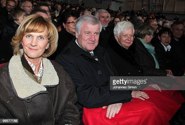 Karin Seehofer, Bavaria's state governor Horst Seehofer and Bundestag vice-president Gerda Hasselfeldt attend the premiere of the Passionplay 2010 on...