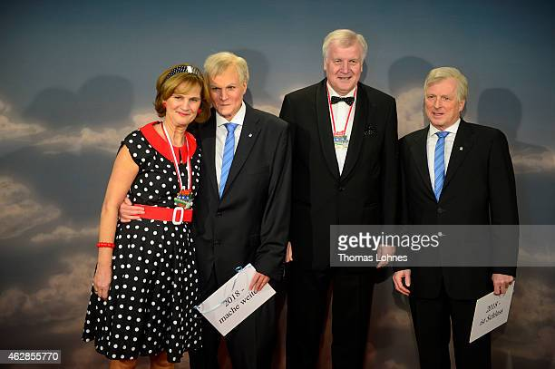 Karin Seehofer Claudia Stamm Bavarian Primeminister Horst Seehofer and HansJuergen Staudt pose while attending the annual Fastnacht in Franken...