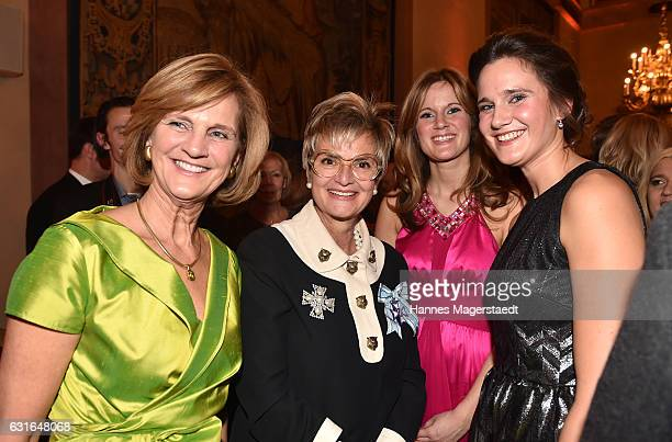 Karin Seehofer, Fuerstin Gloria von Thurn und Taxis, Susanne Seehofer and Ulrike Seehofer during the new year reception of the Bavarian state...