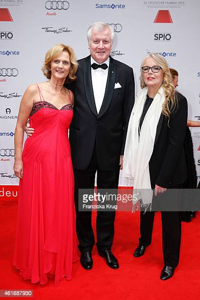 Karin Seehofer Horst Seehofer and Manuela Stehr attend the German Film Ball 2015 on January 17 2015 in Munich Germany