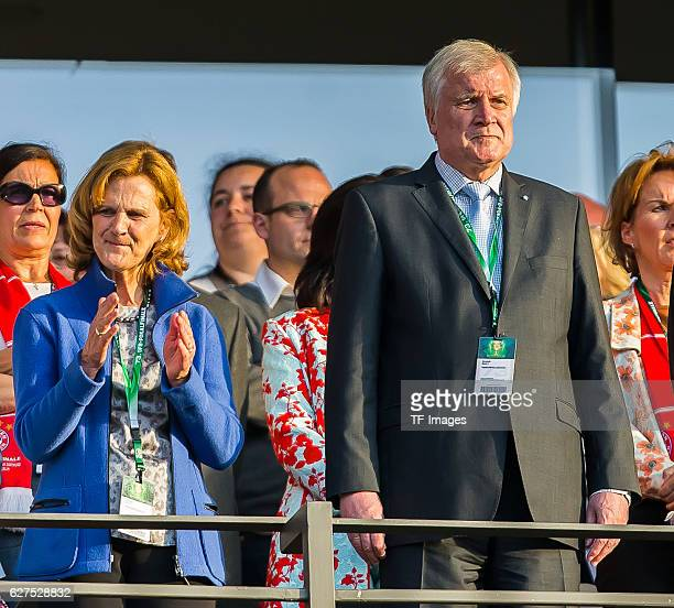Karin Seehofer, Horst Seehofer look on during the DFB Cup Final 2016 between Bayern Muenchen and Borussia Dortmund at Olympiastadion on May 21, 2016...