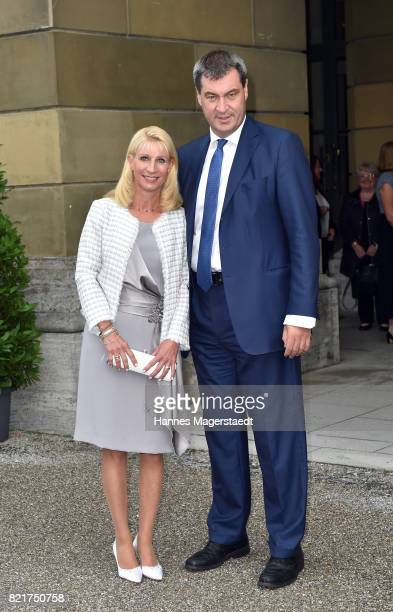 Karin Soeder and Markus Soeder arrive before the 'Arena di Verona' Concert starts in the Herkulessaal at Residenz on July 24 2017 in Munich Germany
