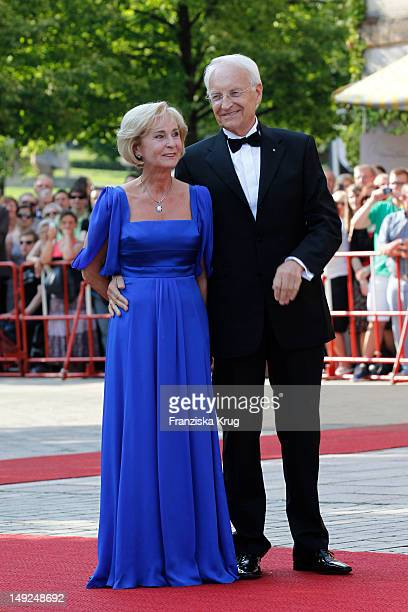 Karin Stoiber and Edmund Stoiber arrive for the Bayreuth festival 2012 premiere on July 25 2012 in Bayreuth Germany