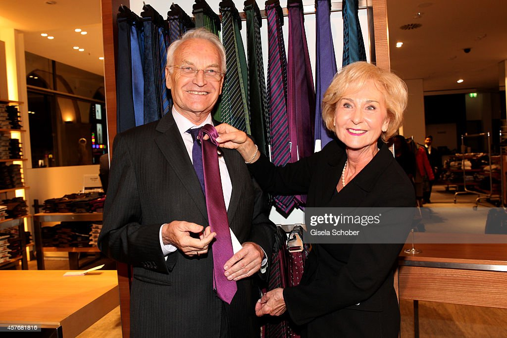 Karin Stoiber and his wife Karin attend the Hirmer store re-opening on October 22, 2014 in Munich, Germany.