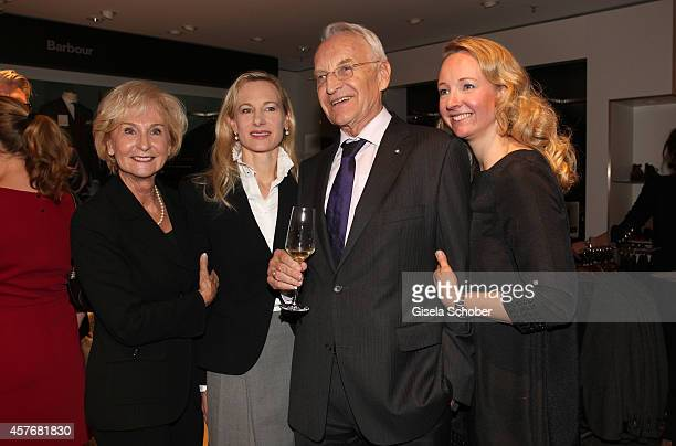 Karin Stoiber , Edmund Stoiber and his daughter Constanze Hausmann and daughter Veronica Sass attend the Hirmer store re-opening on October 22, 2014...