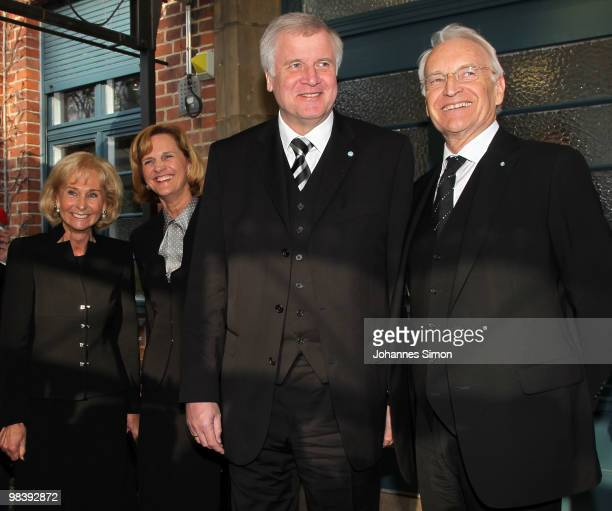 Karin Stoiber Karin Seehofer Horst Seehofer and Edmund Stoiber leave the funeral service for Wolfgang Wagner at festival opera house on April 11 2010...