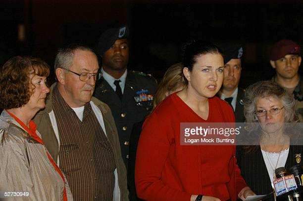 Karin Tackaberry spokesperson for the family of Air Force Major Gregory Stone talks to the media after Sgt Hasan Akbar was sentenced to death April...