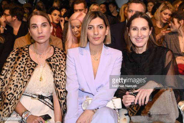 Karin Teigl Aylin Koenig and Annette Weber attend the Riani show during the Berlin Fashion Week Autumn/Winter 2019 at ewerk on January 16 2019 in...