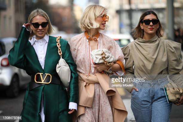 Karin Teigl, Viktoria Rader and Aylin Koenig are seen before Sportmax during Milan Fashion Week Fall/Winter 2020-2021 on February 21, 2020 in Milan,...