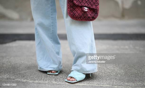 Karin Teigl wearing Bottega Veneta heels, Chanel bag and Closed jeans on May 31, 2020 in Augsburg, Germany.