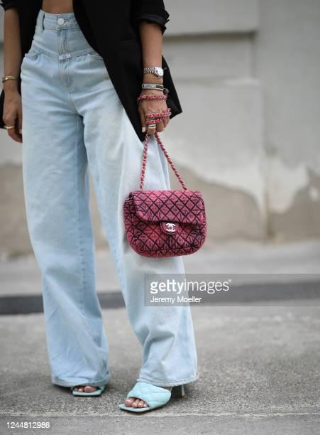 Karin Teigl wearing Bottega Veneta heels, Chanel bag, Closed jeans and Zara blazer on May 31, 2020 in Augsburg, Germany.