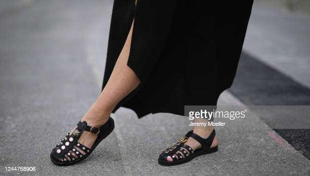 Karin Teigl wearing by Aylin Koenig dress and Gucci sandals on May 31, 2020 in Augsburg, Germany.