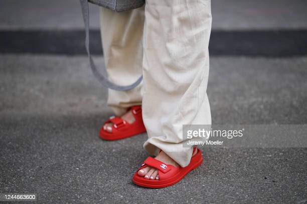 Karin Teigl wearing by Aylin Koenig pants and Chanel sandals on May 31 2020 in Augsburg Germany