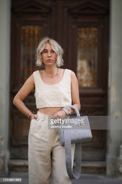 Karin Teigl wearing by Aylin Koenig pants and top and Dior bag on May 31, 2020 in Augsburg, Germany.