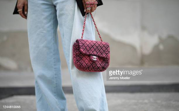 Karin Teigl wearing Chanel bag and Closed jeans on May 31, 2020 in Augsburg, Germany.
