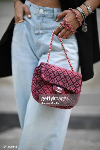 Karin Teigl wearing Chanel bag, Closed jeans and Zara blazer on May 31, 2020 in Augsburg, Germany.