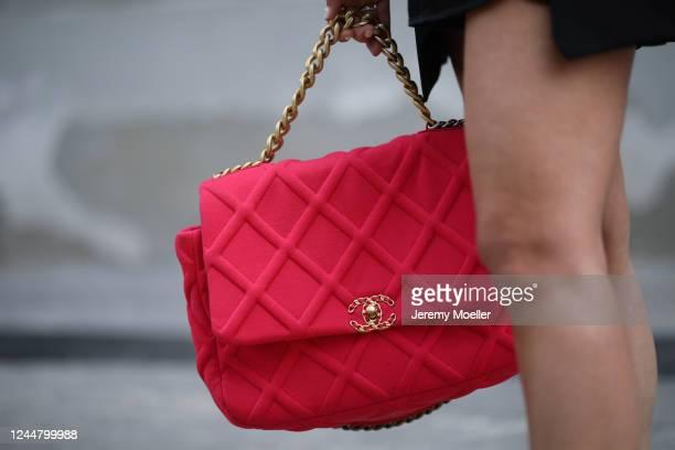 Karin Teigl wearing Chanel bag on May 31, 2020 in Augsburg, Germany.