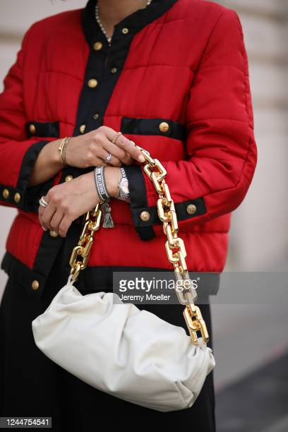 Karin Teigl wearing Chanel jacket, by Aylin Koenig dress and Bottega Veneta bag on May 31, 2020 in Augsburg, Germany.