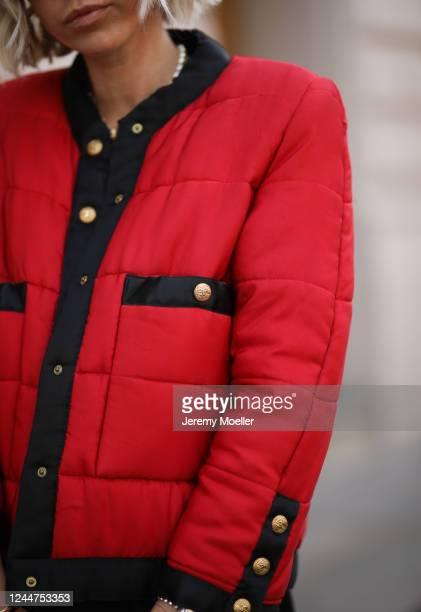 Karin Teigl wearing Chanel jacket on May 31, 2020 in Augsburg, Germany.