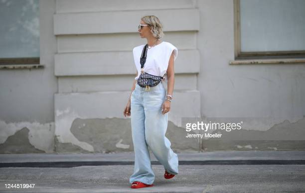 Karin Teigl wearing Chanel sandals Closed jeans Monki shirt and Dior bag on May 31 2020 in Augsburg Germany