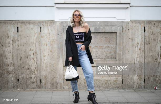 Karin Teigl wearing Closed jeans Chanel bag Dior shoes CYK by constantly k blazer glasses carrera drop top versace on March 25 2019 in Augsburg...
