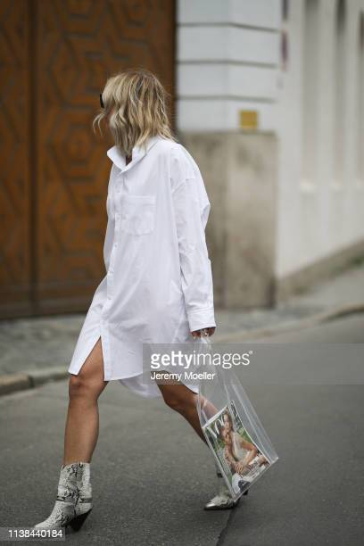 Karin Teigl wearing CYK by constantly k shirtdress Gina tricot bag Isabel Marant boots Saint Laurent sunnies on March 25 2019 in Augsburg Germany