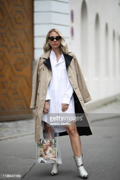 Karin Teigl wearing CYK by constantly k shirtdress Gina tricot bag CYK by constantly k coat Isabel Marant boots Saint Laurent sunnies on March 25...