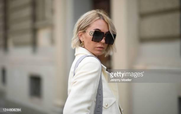 Karin Teigl wearing Dior shades, Chanel jacket on May 31, 2020 in Augsburg, Germany.