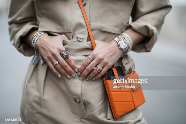 Karin Teigl wearing frankie Shop suit, Fendi bag on March 25, 2019 in Augsburg, Germany.