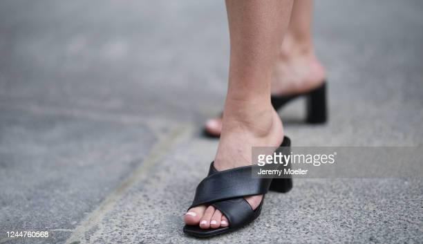 Karin Teigl wearing YSL heels on May 31, 2020 in Augsburg, Germany.